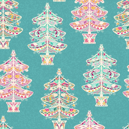 Vintage holiday seamless pattern with christmas tree - vector Vector