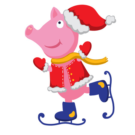 Pig Santa Claus isolated on white background - vector Vector