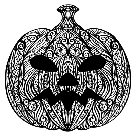 Halloween pumpkin isolated silhouette in white and black -  vector