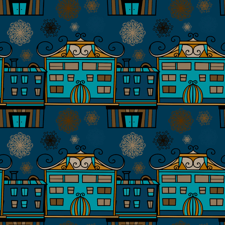 Seamless pattern with panorama of the city - vector Vector