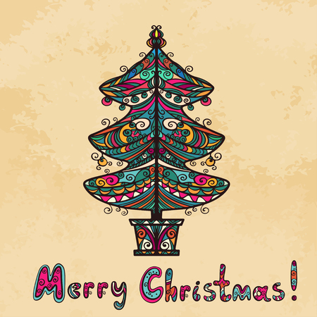 Vintage background with christmas tree and text Merry Christmas - vector Vector