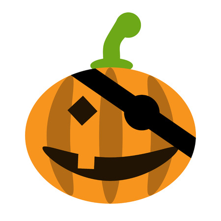 single eyed: Halloween pumpkin isolated - vector