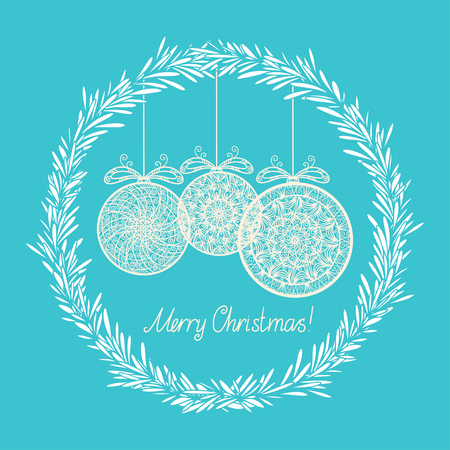 Vintage holiday New Year and Christmas background with frame and Christmas balls - vector Vector