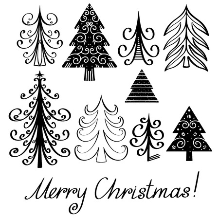 Set christmas tree and text Merry Christmas isolated black silhouette - vector Vector