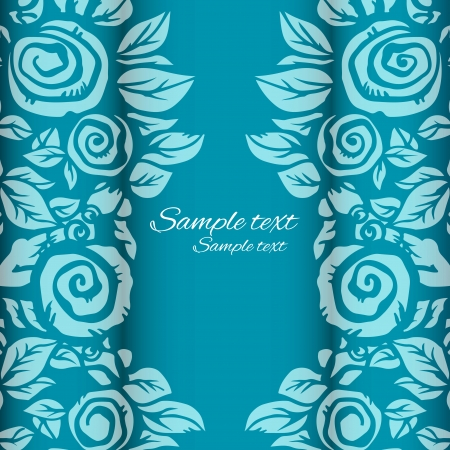 Blue floral background with space for text - vector Vector