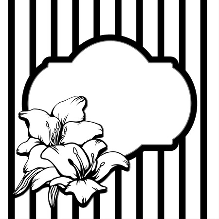 Background with frame and flowers in black and white - vector Vector