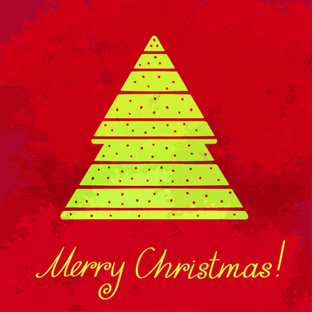 Holiday background with christmas tree and text Merry Christmas - vector Vector