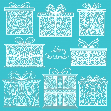 Vintage holiday background with set isolated silhouette icons gifts and text Merry Christmas - vector Vector