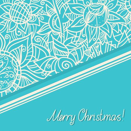Holiday background with pattern and text Merry Christmas - vector Vector