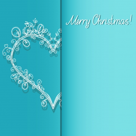 Holiday background with heart and the text Merry Christmas - vector