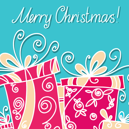 Holiday background with gifts and  and text Merry Christmas - vector Vector