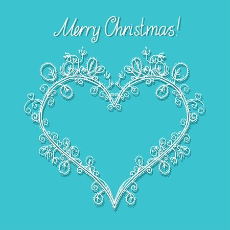Holiday background with frame in the shape of heart and the text Merry Christmas - vector Vector