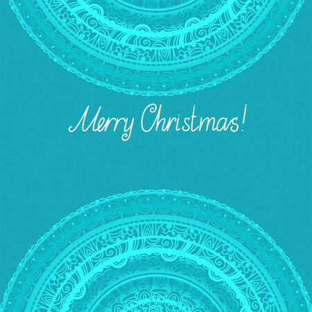 Vintage holiday Merry Christmas invitation with lace ornament - vector Vector
