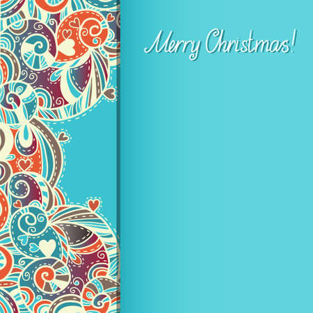 Holiday New Year and Christmas background with hearts and text Merry Christmas - vector Vector