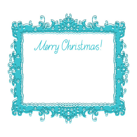 Holiday New Year and Christmas background with frame, flowers and text Merry Christmas - vector Vector