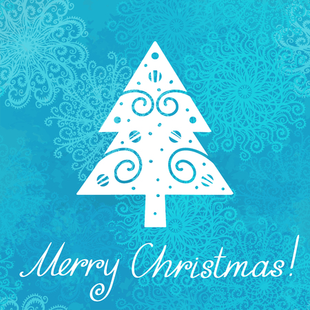 Holiday background with christmas tree, snowflakes and text Merry Christmas - vector Vector