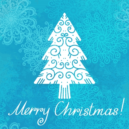 christmas watercolor: Holiday background with christmas tree, snowflakes and text Merry Christmas - vector