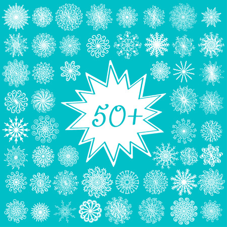 Set of beautiful ornate snowflakes isolated for your Christmas decoration Vector