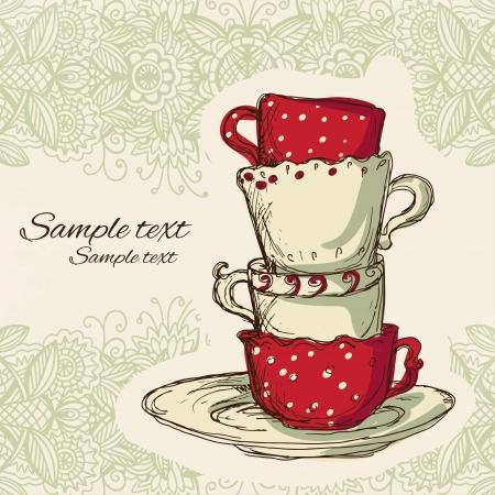 Tea party vintage background  Illustration