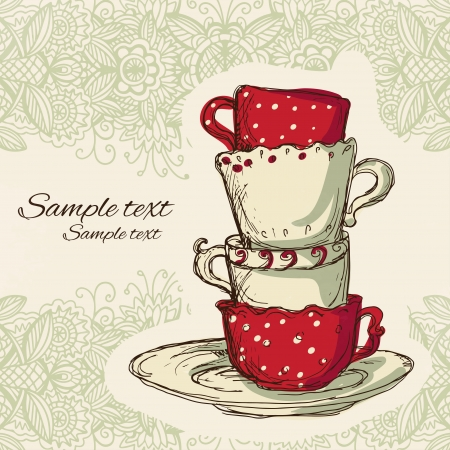 cup and saucer: Tea party vintage background  Illustration