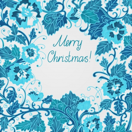 Blue Merry Christmas background with flowers, frame and space for text - vector Vector