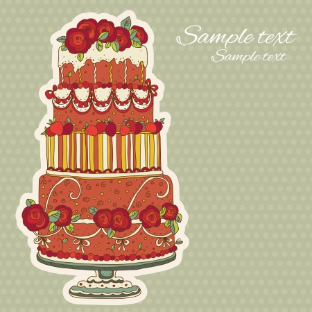 Vintage holiday background with cake - vector Vector