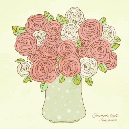 flower vase: Vintage holiday background with roses - vector