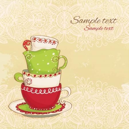 drink tea: Tea party vintage background - vector Illustration