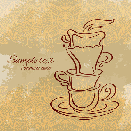 Tea party vintage background - vector Vector