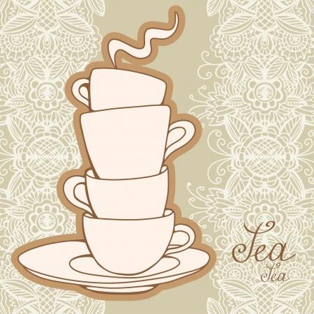 teacups: Tea party vintage background - vector Illustration