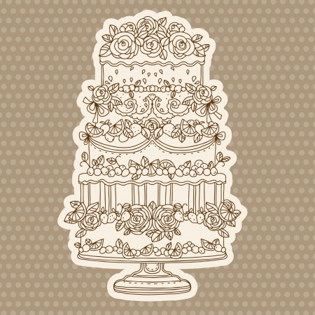 torte: Vintage holiday background with cake - vector Illustration