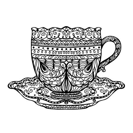 Vintage tea cup icon - vector  Illustration