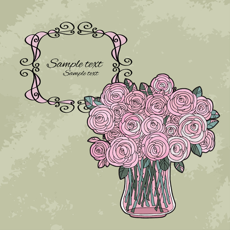 Vintage holiday background with roses and the frame - vector Vector