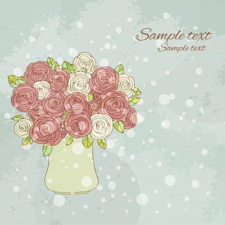 Vintage holiday background with roses and  space for text - vector Vector