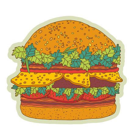 Big hamburger cartoon illustration - vector  Vector
