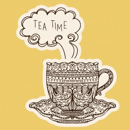 afternoon: Vintage taza de t� icono - vector