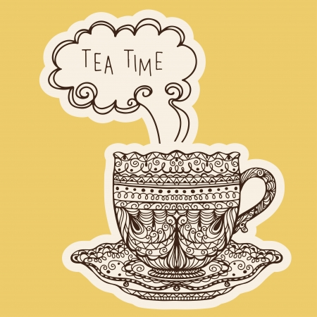 tea time: Vintage tea cup icon - vector  Illustration