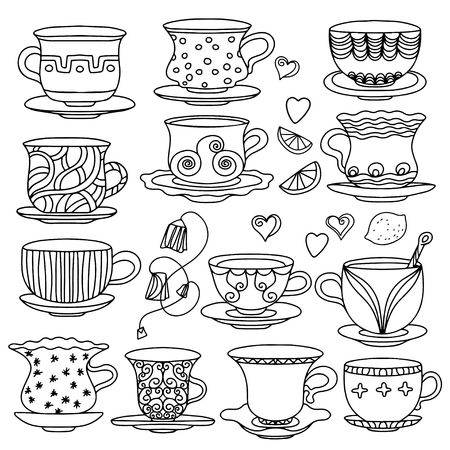 Set vintage icons tea cup, lemons,  hearts, and tea bags - vector  Illustration