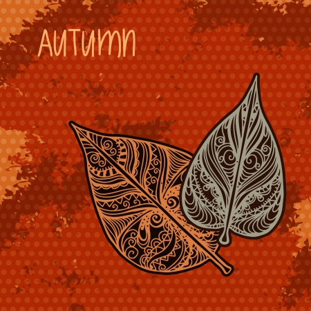 Autumn background with leaves - vector   Vector