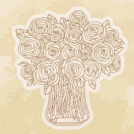 Vintage icon roses - vector Vector