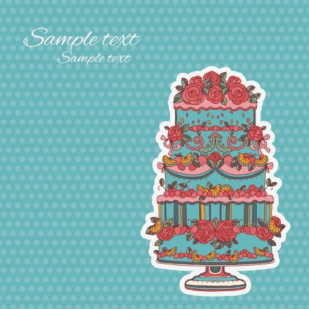 Vintage background with holiday cake - vector