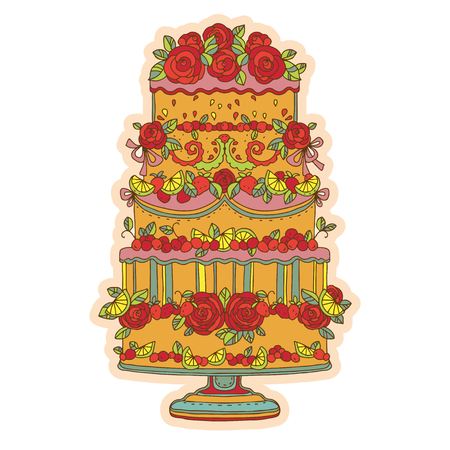 torte: Vintage icon holiday cake - vector