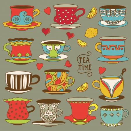 Set vintage icons tea cups, lemons, hearts and tea bags - vector