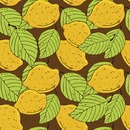 Seamless pattern with lemons - vector  Vector