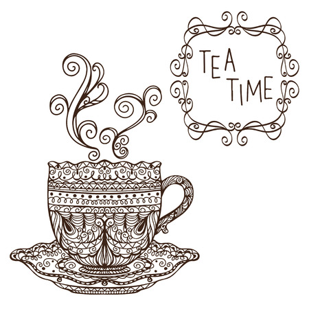 tea time: Tea party vintage background - vector