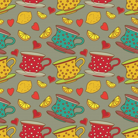 teatime: Vintage seamless pattern with cups, lemons and  hearts - vector Illustration
