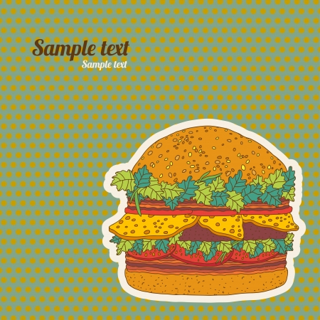 Background with big hamburger and space for text - vector  Vector