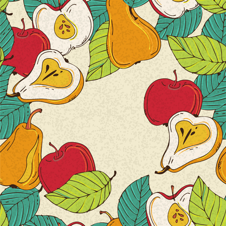 Background with apples and pears - vector Vector