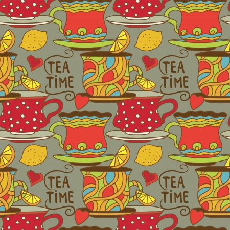 demitasse: Vintage seamless pattern with cups, lemons and  hearts - vector Illustration