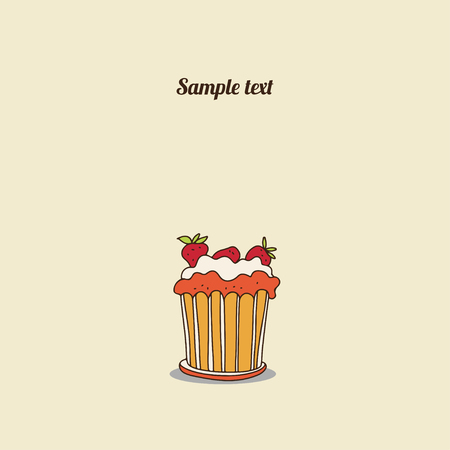 Vintage card with cake - vector Vector
